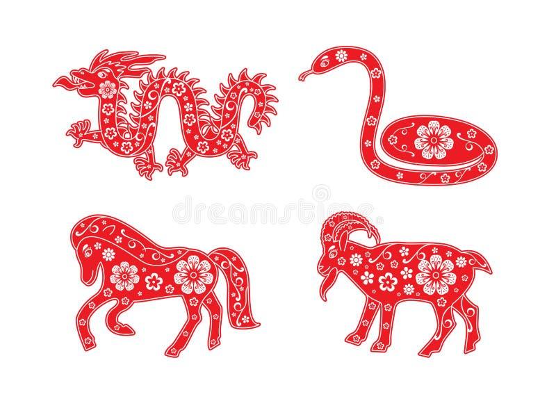 Chiński horoskopu zwierzęcia set Smok 2024, wąż 2025, koń 2026, kózka 2027 dekoracyjny elementu kwiatu wektor royalty ilustracja