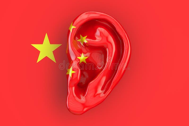Chiński inteligenci pojęcie, ucho na flaga Chiny 3D rende ilustracji
