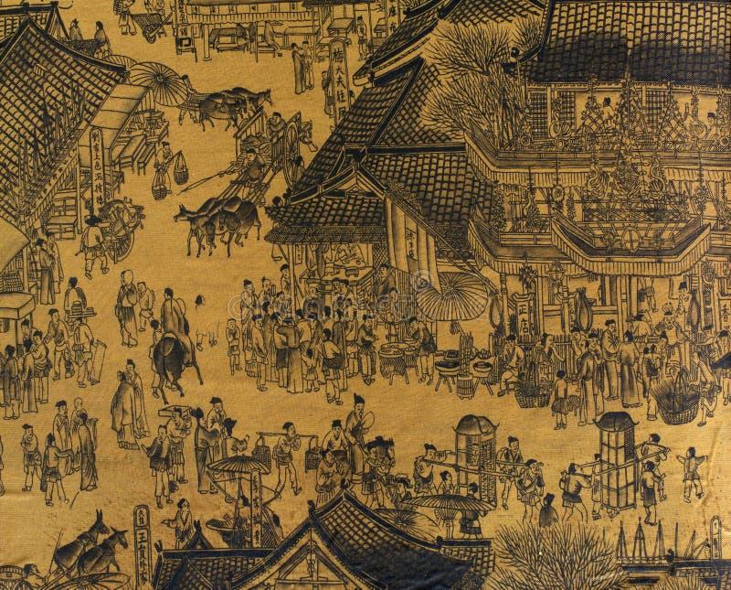 chiński jedwab antykami obrazu ilustracja wektor