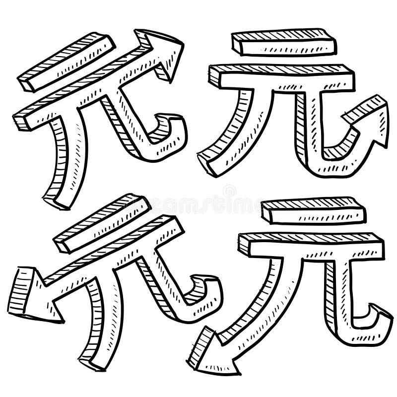Chiński Juan waluty wartości nakreślenie ilustracja wektor