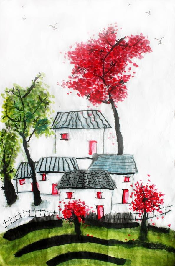 Chiński kaligrafia obraz małomiasteczkowa Chińska wioska ilustracja wektor