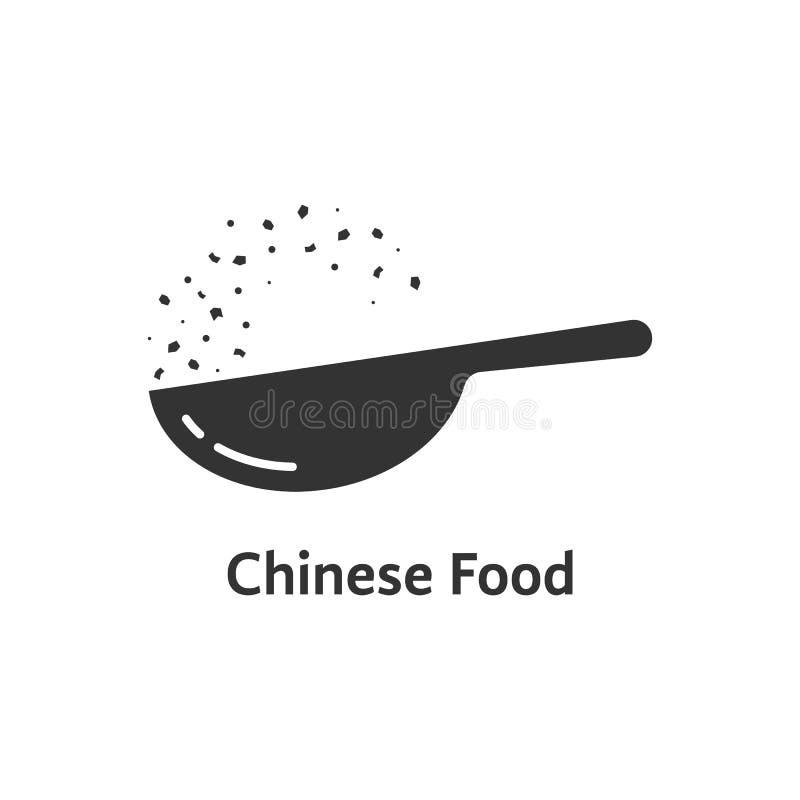 Chiński karmowy logo z czarnym wok ilustracja wektor