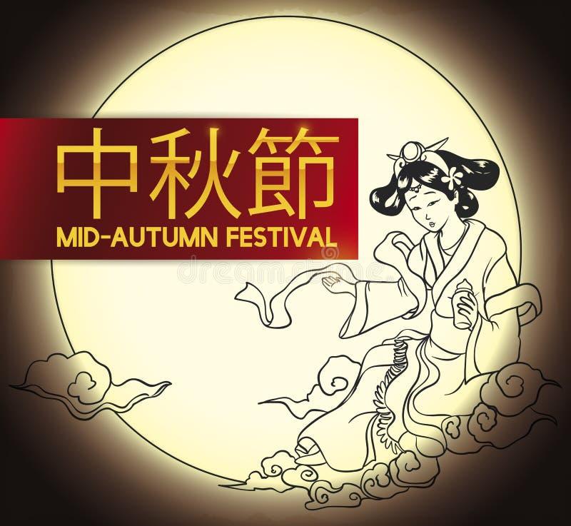 Chiński księżyc bogini remis Świętować jesień festiwal, Wektorowa ilustracja ilustracja wektor