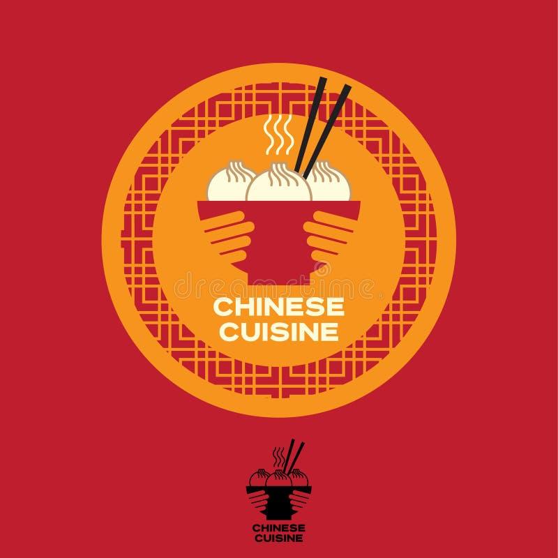 Chiński kuchnia logo Azjatycki karmowy emblemat Puchar w rękach z Chińskimi kluchami i chopsticks ilustracja wektor
