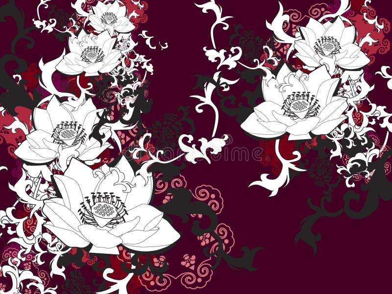 chiński kwiat lotos ilustracja wektor