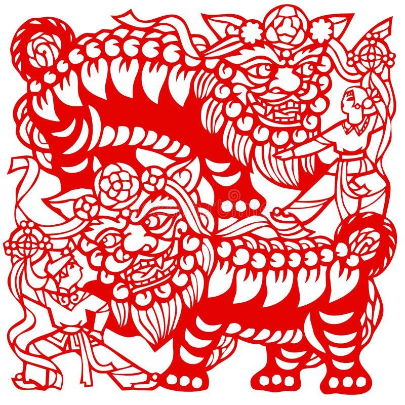 chiński lwa zodiak royalty ilustracja