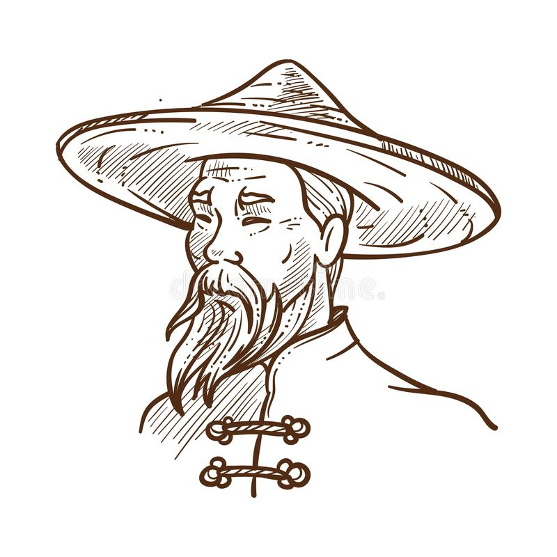 Chiński mężczyzna jest ubranym tradycyjną odzieżową monochromatyczną nakreślenie wektoru ilustrację ilustracji