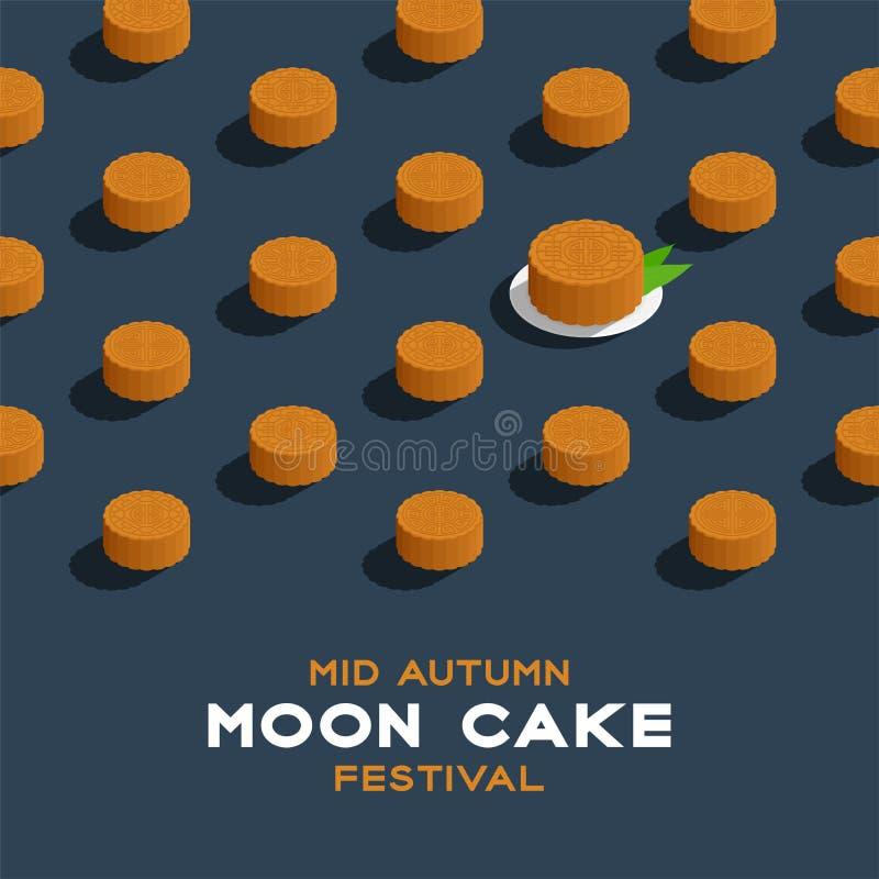 Chiński Mooncake 3D isometric wzór, jesieni księżyc festiwalu pojęcia plakat i sztandaru kwadrat, projektujemy ilustrację odizolo royalty ilustracja