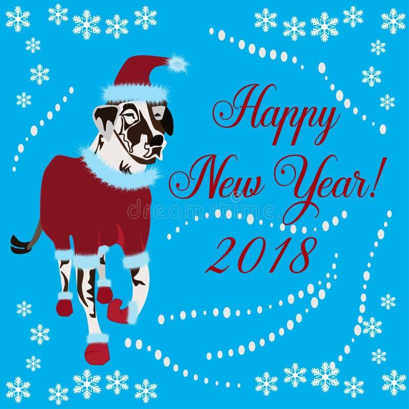 Chiński nowego roku kartka z pozdrowieniami z dalmatian psem royalty ilustracja