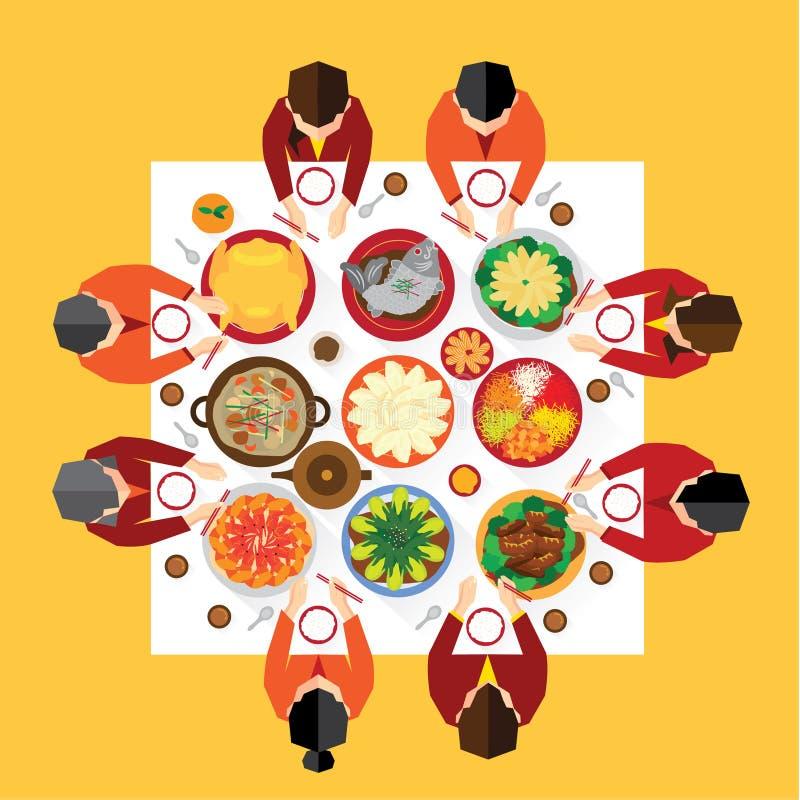 Chiński nowego roku spotkania gość restauracji royalty ilustracja