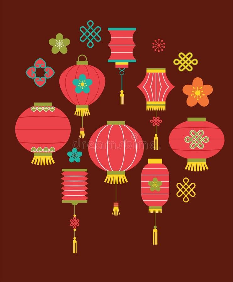 Chiński nowego roku tło z lampionami royalty ilustracja