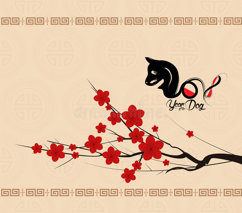 Chiński nowego roku 2018 tło z psem Rok pies ilustracji