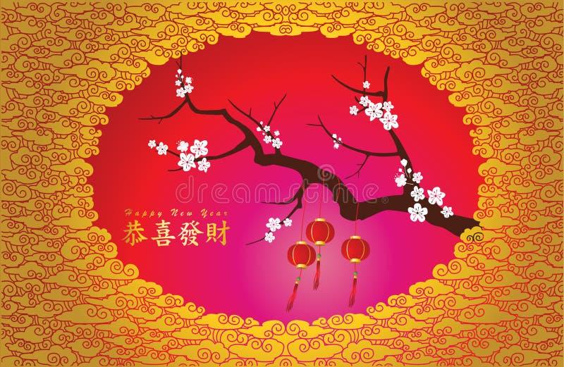 Chiński nowego roku tło z szczęśliwymi nowy rok charakterami ilustracja wektor