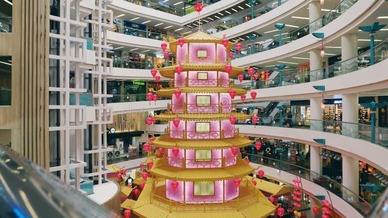 Chiński nowego roku temat przy centrum handlowym obraz stock