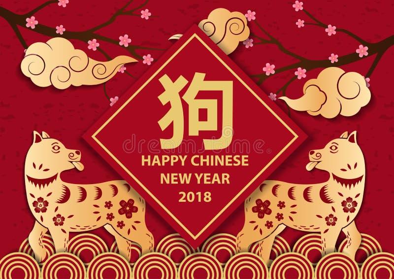 Chiński nowy rok 2018, gratulacje z Chińskimi hieroglifami ilustracji