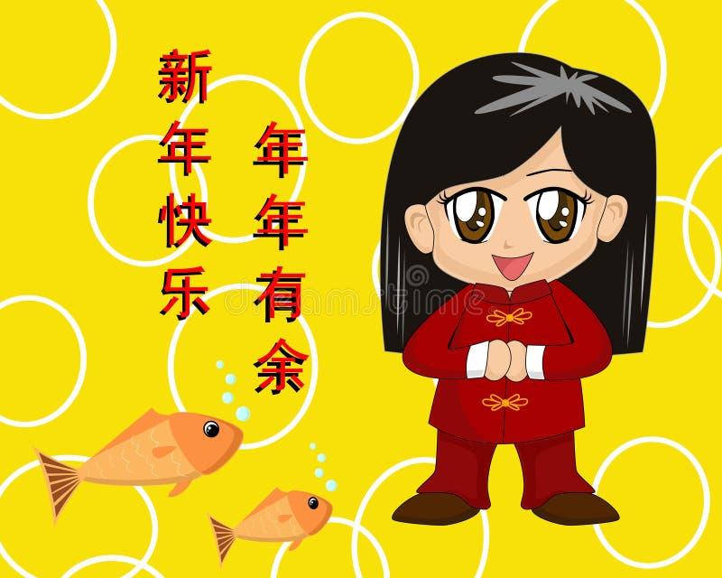 chiński nowy rok, karty, ilustracja wektor