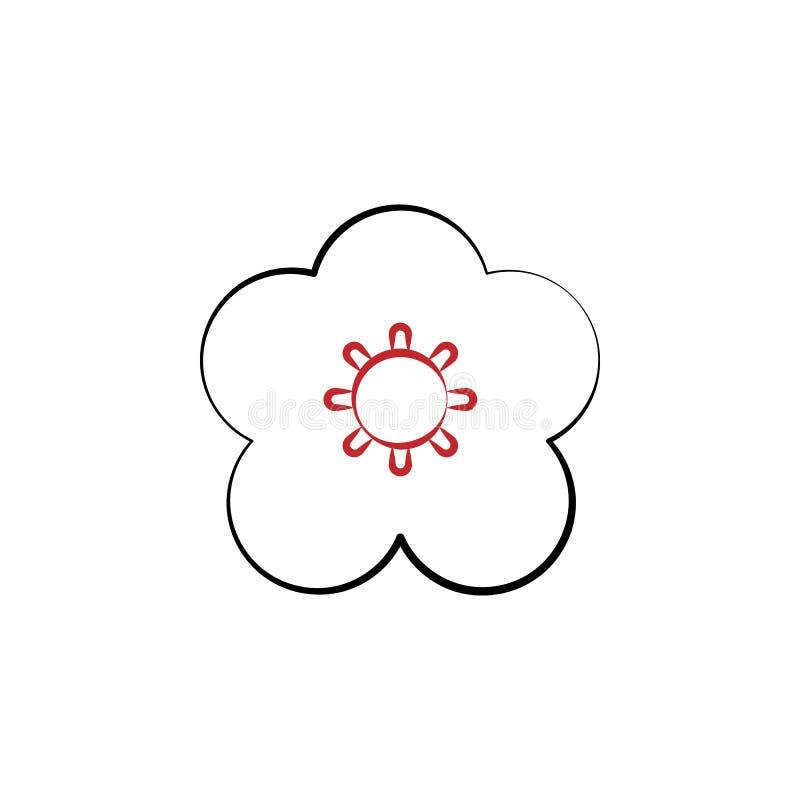 Chiński nowy rok, kwiat, śliwkowa okwitnięcie ikona Może używać dla sieci, logo, mobilny app, UI, UX ilustracja wektor