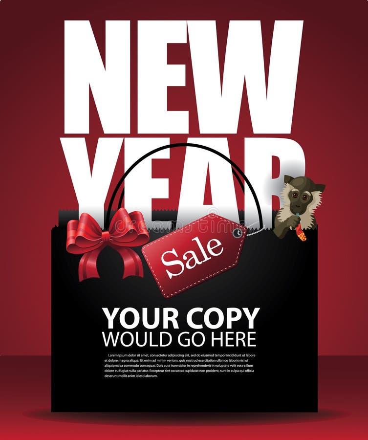 Chiński nowy rok sprzedaży małpy i torba na zakupy tło ilustracja wektor