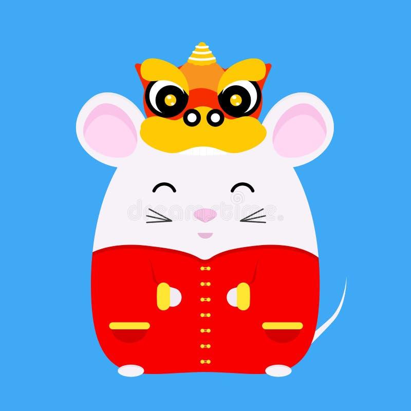 Chiński Nowy Rok 2020 Rok szczura Słodki biały szczur w tradycyjnym chińskim kostiumie i smoczej głowicy tanecznej Symbol zodiaku royalty ilustracja