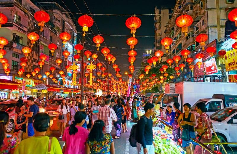 Chiński nowy rok w Chinatown Yangon, Myanmar fotografia stock