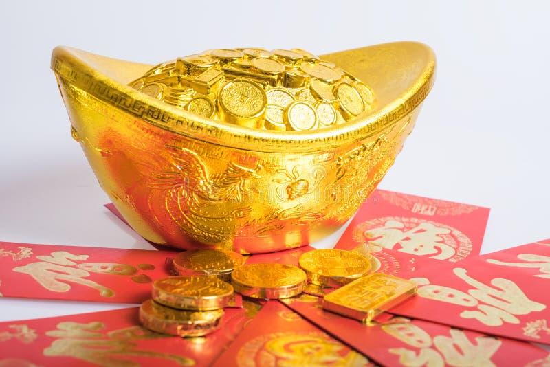 Chiński nowy rok, złociste monety obrazy stock