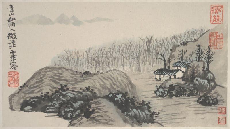Chiński obraz, krajobrazowy obraz, atramentu obraz, Shi Tao obrazy stock