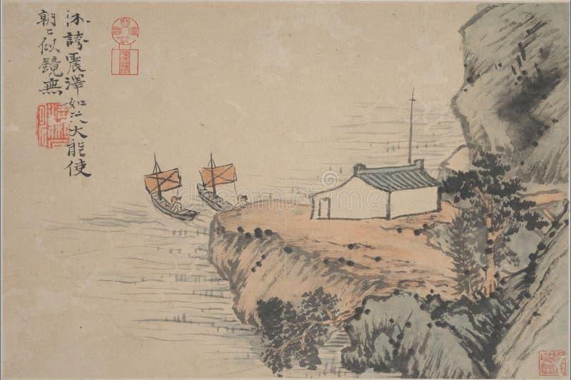 Chiński obraz, krajobrazowy obraz, atramentu obraz, Shi Tao fotografia stock