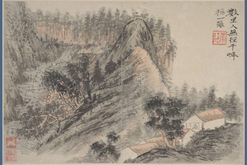 Chiński obraz, krajobrazowy obraz, atramentu obraz, Shi Tao obraz royalty free