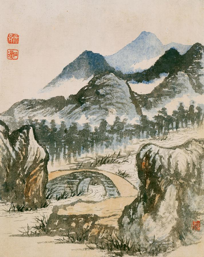 Chiński obraz, krajobrazowy obraz, atramentu obraz, Shi Tao zdjęcie stock