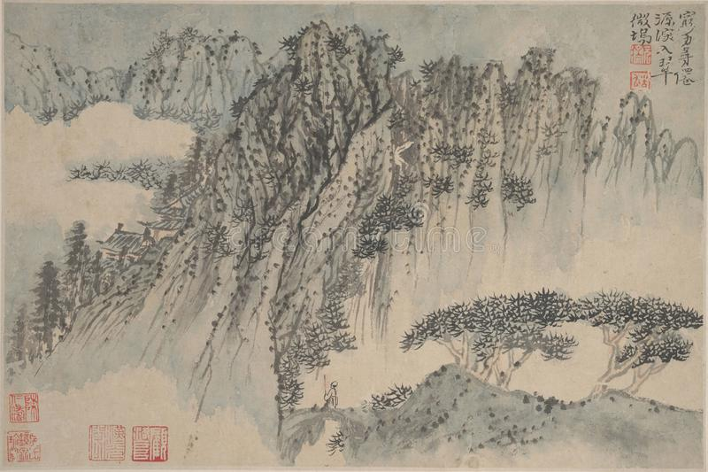 Chiński obraz, krajobrazowy obraz, atramentu obraz, Shi Tao zdjęcia stock