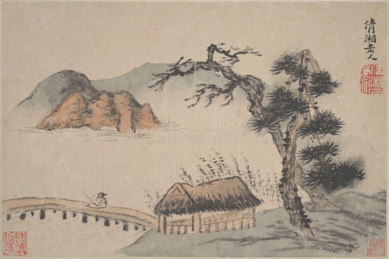 Chiński obraz, krajobrazowy obraz, atramentu obraz, Shi Tao zdjęcie royalty free