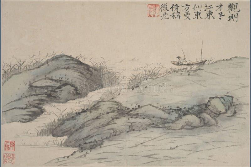 Chiński obraz, krajobrazowy obraz, atramentu obraz, Shi Tao obraz stock