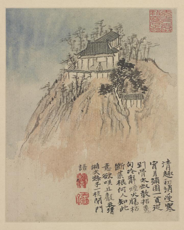 Chiński obraz, krajobrazowy obraz, atramentu obraz, Shi Tao zdjęcia royalty free