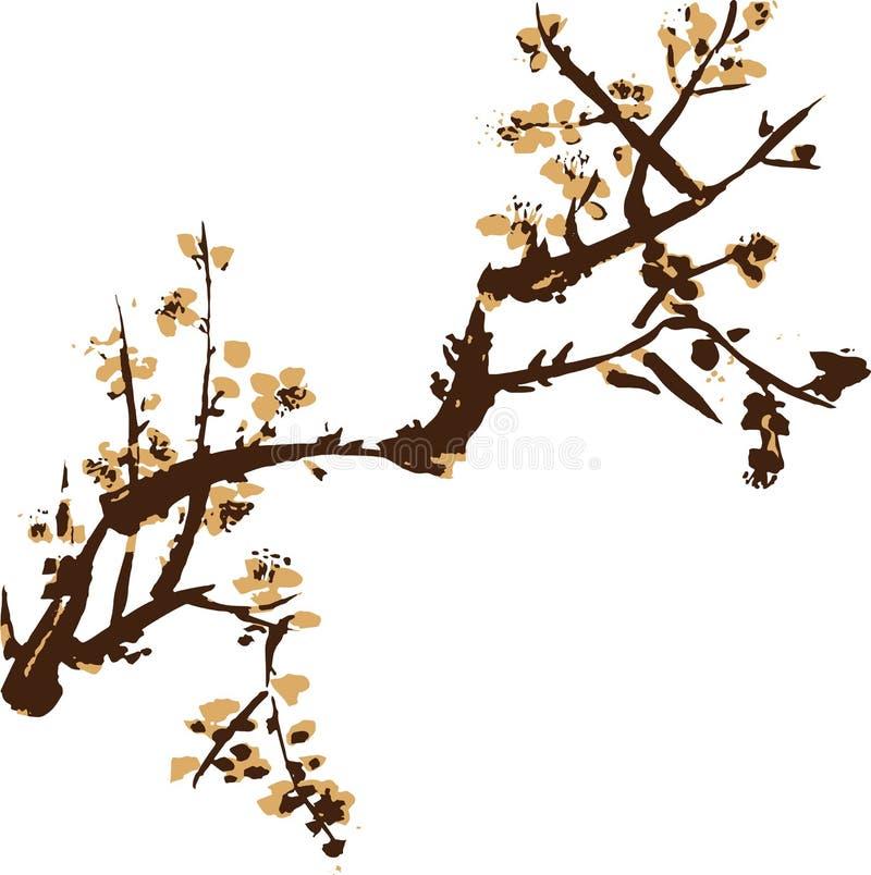 Chiński obraz kwiaty ilustracja wektor