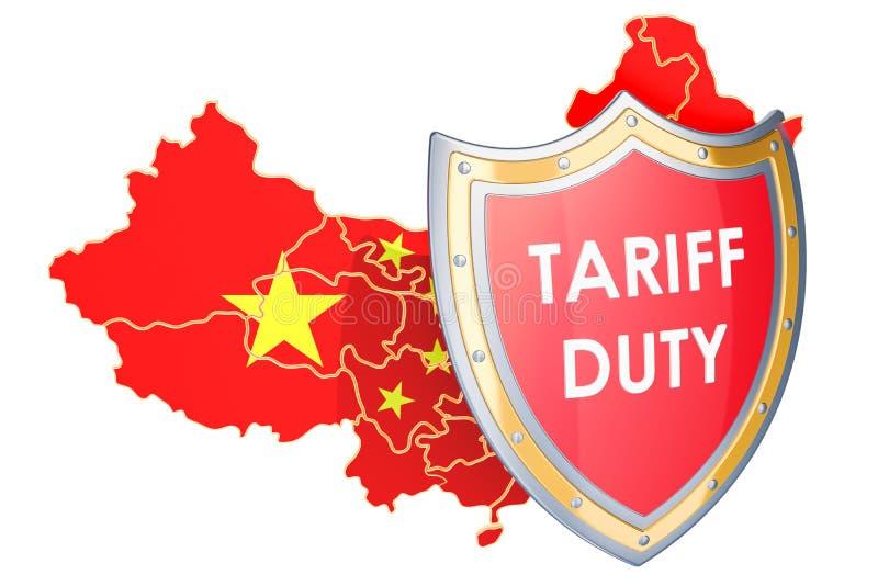 Chiński ochronnych taryf pojęcie Mapa Chiny z osłoną, 3D royalty ilustracja
