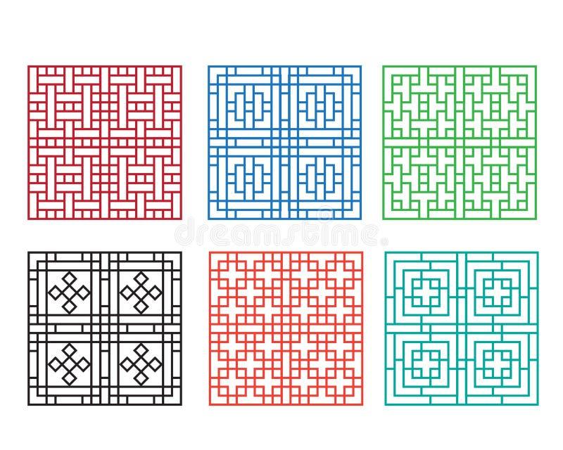 Chiński ornament dla drzwi, okno, ściany i ogrodzenia, royalty ilustracja