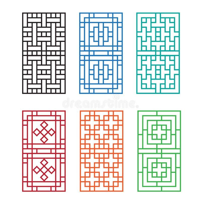 Chiński ornament dla drzwi, okno, ściany i ogrodzenia, ilustracji