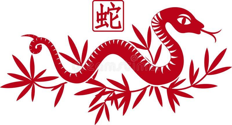 Chiński papier ciie chiński węża jako symbol rok royalty ilustracja