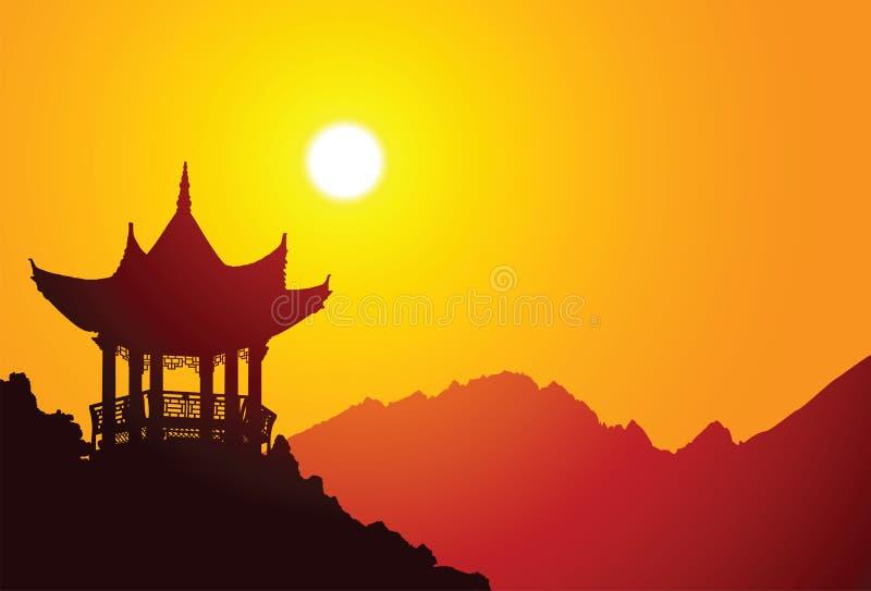 chiński pawilon ilustracji