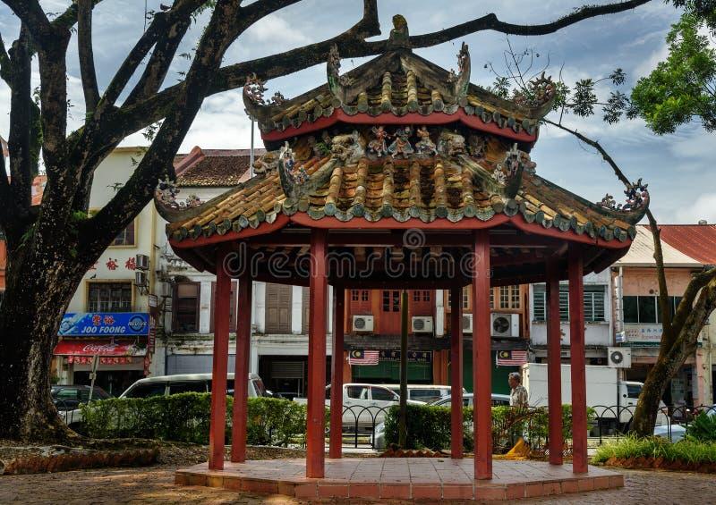 Chiński pawilon na nabrzeżu w Kuching zdjęcie stock