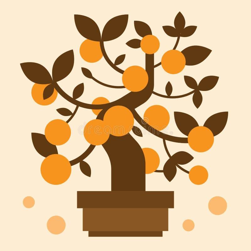 Chiński Pomarańczowy bonsai drzewo fotografia stock