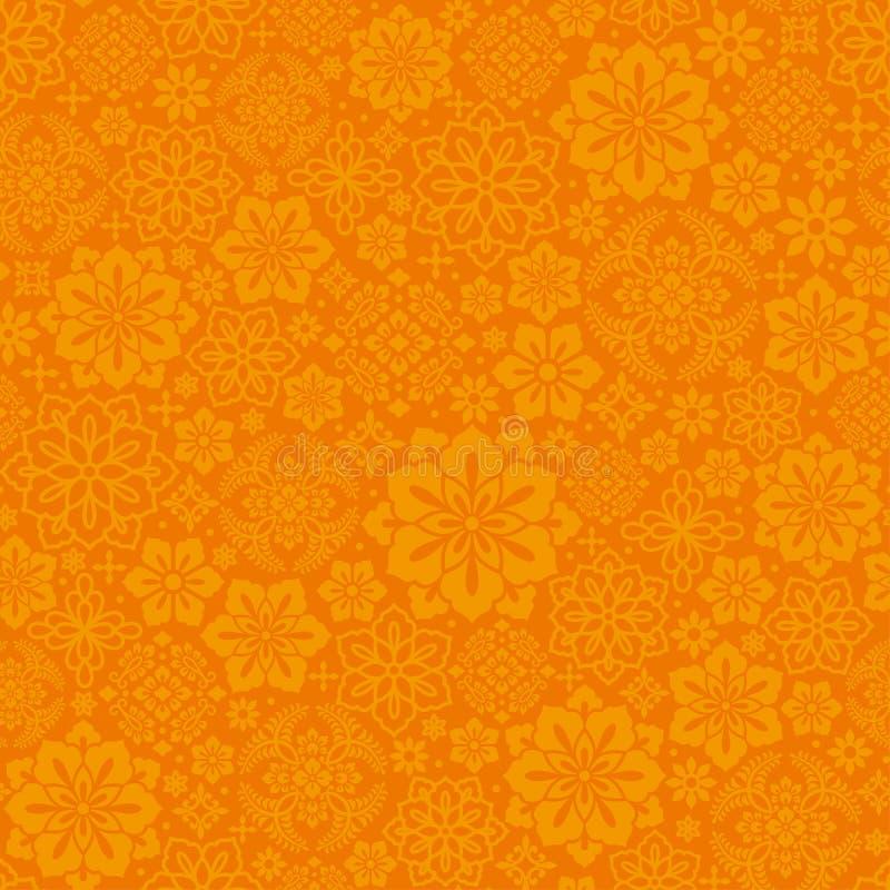 Chiński pomarańczowy tło z dekoracyjnym kwiatem ilustracja wektor