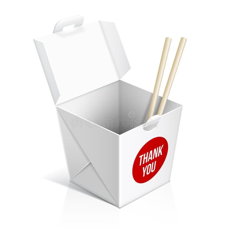 Chiński restauracyjny bierze oddalonego pudełko ilustracji
