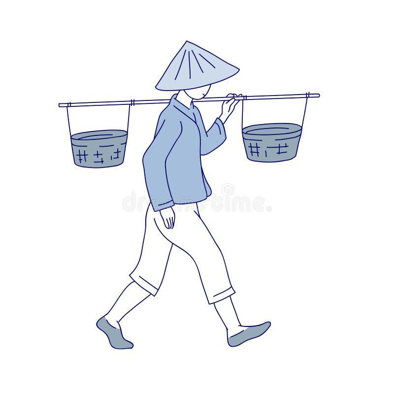 Chiński rolnik niesie kosz na jego ramieniu Mężczyzna pracy odzieżowy i tradycyjny round kapelusz z polami Wektorowa kreskowa szt royalty ilustracja