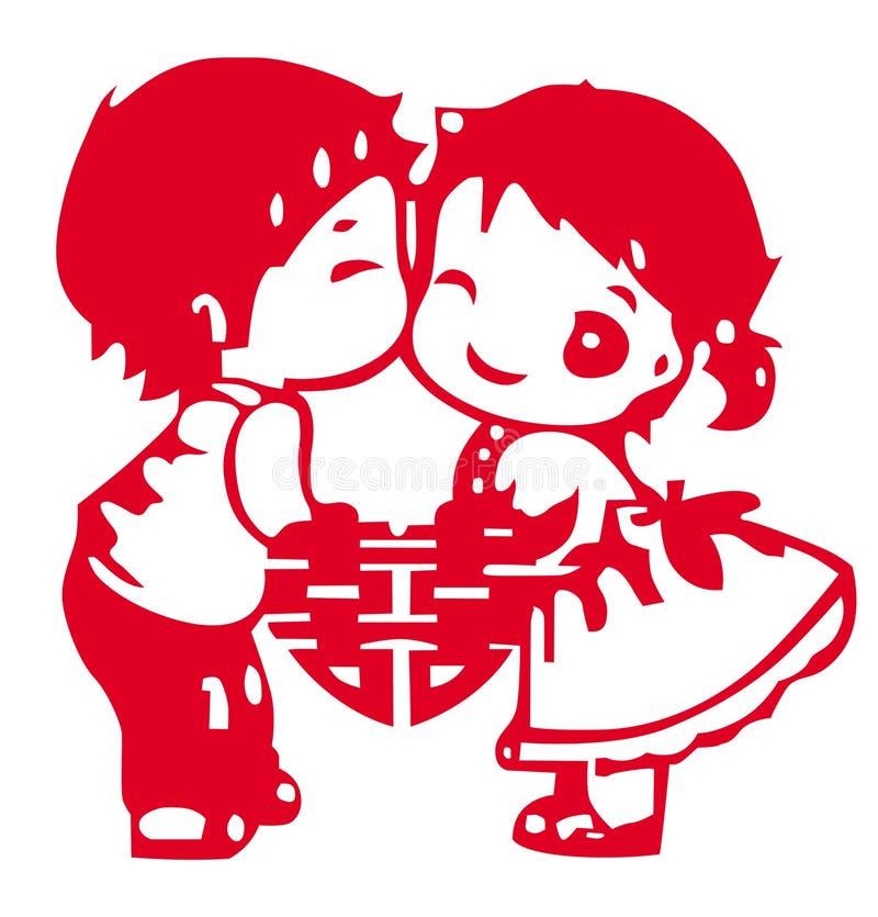 chiński rozcięcia papieru ślub royalty ilustracja