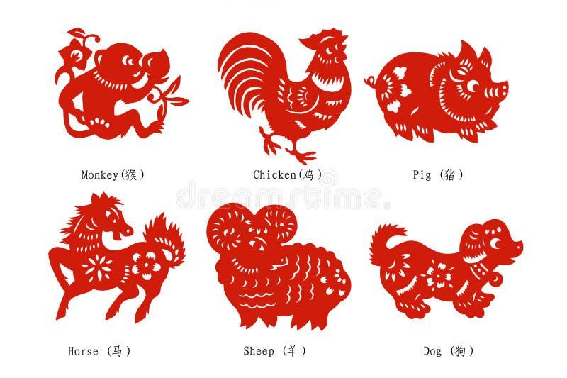 chiński rozcięcia papieru zodiak ilustracji
