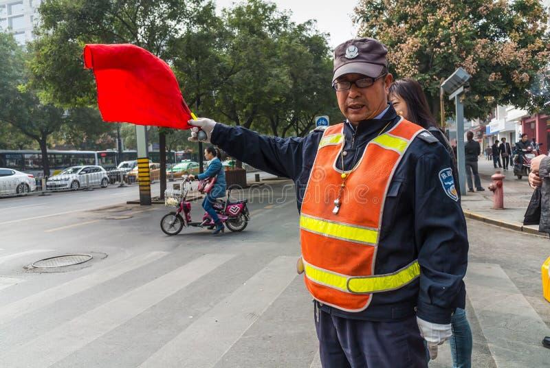 Chiński ruchu drogowego Warden - Xian, Chiny zdjęcie royalty free