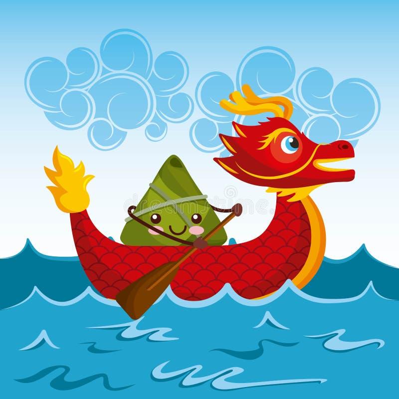 Chiński ryżowy kluchy postać z kreskówki i smok łodzi festiwal ilustracji