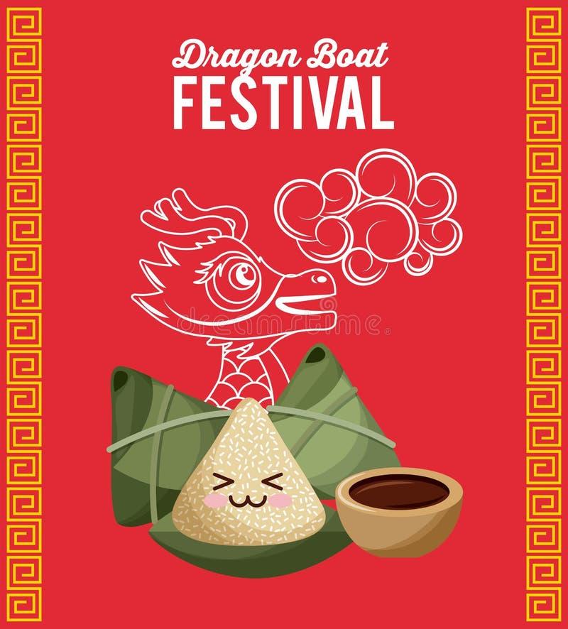 Chiński ryżowy kluchy postać z kreskówki smoka łodzi festiwalu czerwieni tło ilustracji