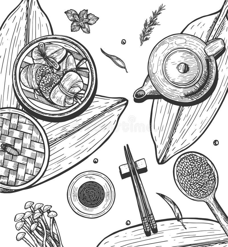 Chiński ryżowy kluchy Zongzi set ilustracji